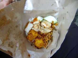 A takeaway breakfast (pork and rice), Indonesia