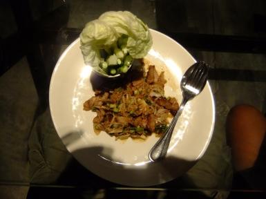 Delicious spicy pork salad, Thailand