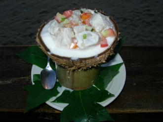The national dish of Fiji, Kokoda (raw fish marinated in lime, chilli and coconut milk)