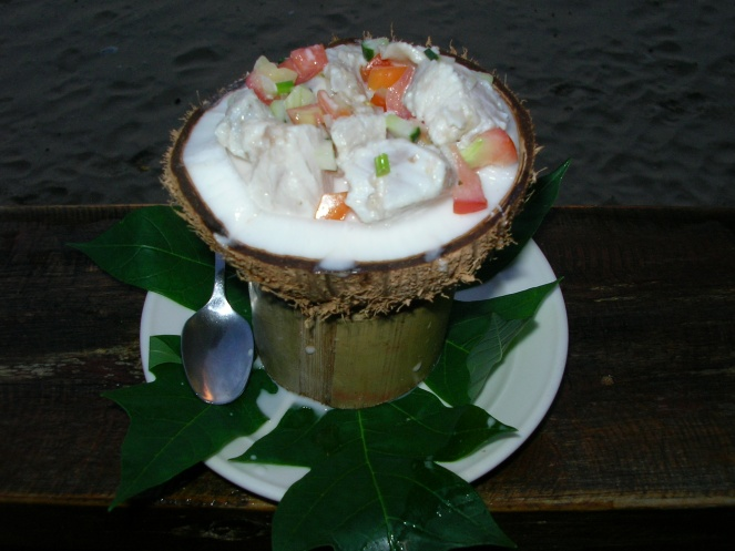 The national dish of Fiji, Kokoda (raw fish marinated in lime, chilli and coconut milk)