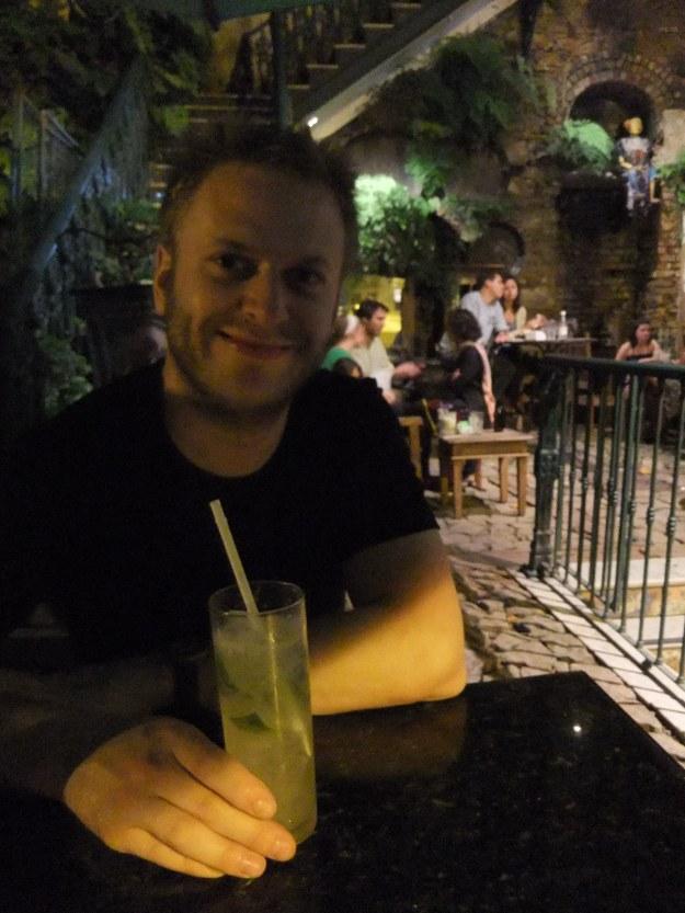 Jack drinking a caiprinha