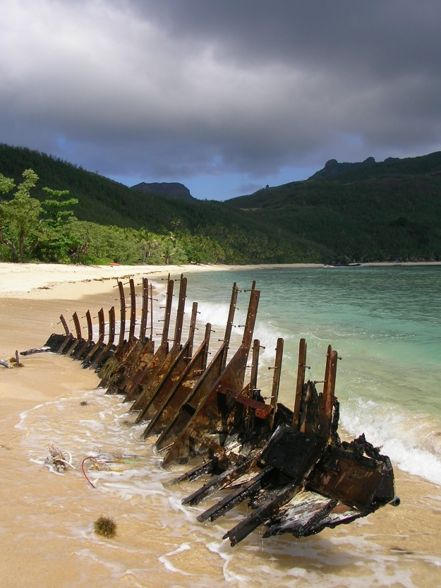 A shipwreck on Waya beach, Fiji
