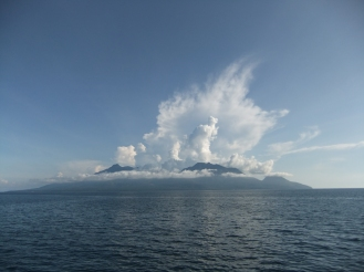 The view of volcanic Camiguin from the ferry, Philippines