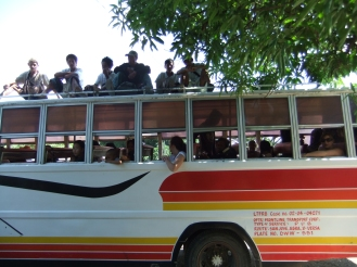 The busy local bus to North Pandan Island, Philippines