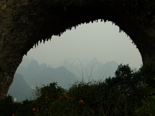 Limestone karsts through Moon Hill, near Yangshuo, China