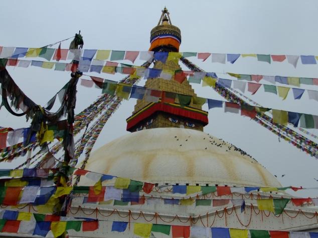 Prayer flags around Boudhanath temple, Kathmandu, Nepal