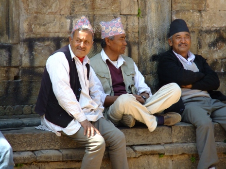 Old geezers hanging out, Patan, Nepal