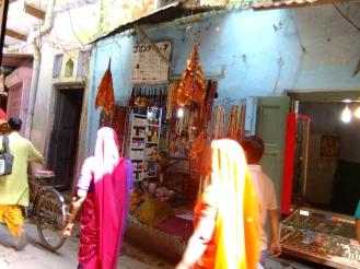 Sunlight on saris, Varanasi, India