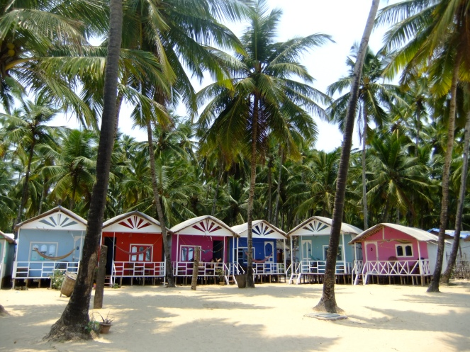 Beach huts on Palolem Beach, Goa, India
