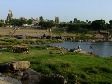 View of Hampi across the river, India