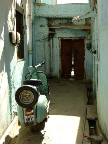 A colour co-ordinated moped, Udaipur, India