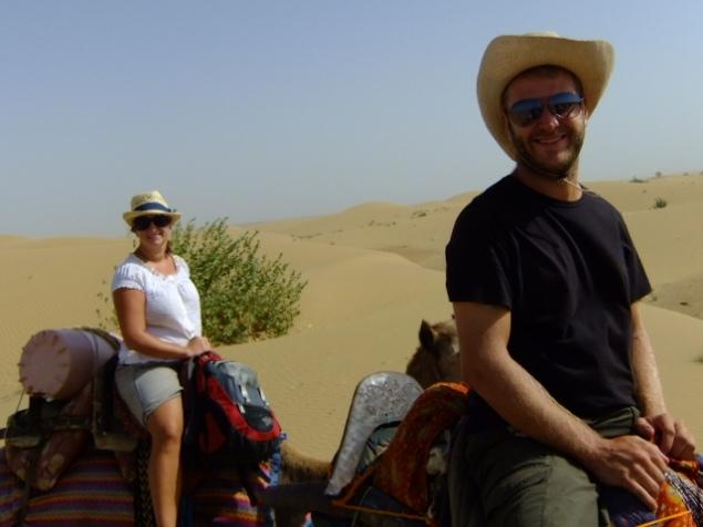 Bad hats on a camel safari, Great Thar desert, India