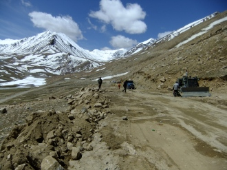 A spot of high altitude road maintenance, Nubra Valley, Ladakh, India