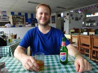 Enjoying the local cerveza