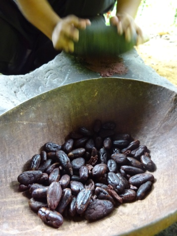 Making paste from roasted beans