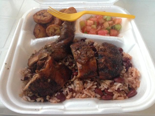 Rice, beans, plantains, salad and jerk chicken, Honduras