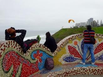 Miraflores coastal park with paragliders