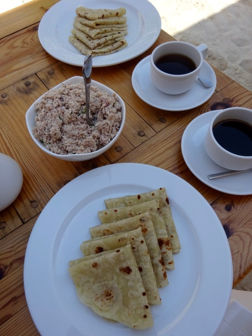 The typical breakfast - chapatis with tuna, coconut and spices